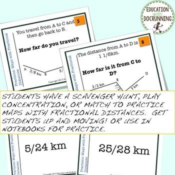 Fractional Distances on maps Task Card Activity