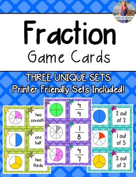 Fractions Matching/Game Cards *Three Unique Sets!*