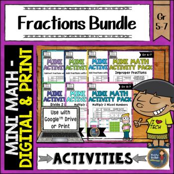 Fractions Math Activities Bundle Google Slides and Printable