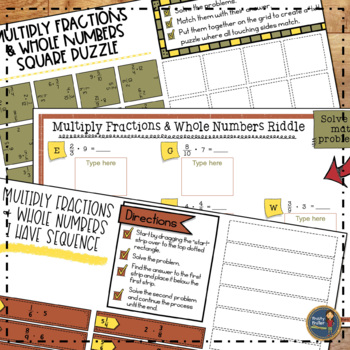 Fractions Math Activities Bundle Puzzles and Riddles