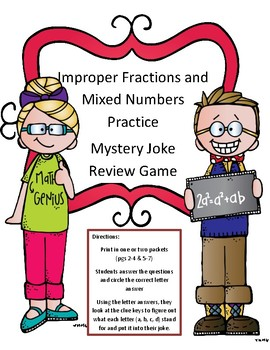 Fractions Math Activity Converting Improper and Mixed Numbers Mystery Joke