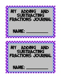 Fractions Math Journal - Addition and Subtraction of Fractions