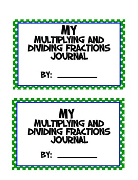 Fractions Math Journal - Multiply and Divide Fractions