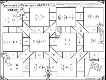 Fractions Math Maze FREEBIE