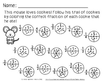 Fractions Math Practice Pages: Cookie and Mouse Theme