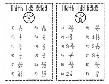 Fractions Math Tag Relay