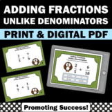 Adding Fractions with UNLIKE Denominators Task Cards, 4th Grade Math Review