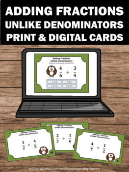 Adding Fractions with UNLIKE Denominators Task Cards, 4th ...