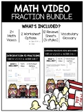 Fractions Math Video and Worksheet Bundle