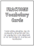 Fractions Math Vocabulary Cards