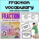 Fractions  Math Vocabulary Cards, Math Games and  Easel Di