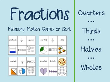 Fractions Memory Match or Sort