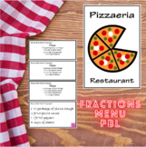 Fractions Menu Project - Common Core PBL (Back To School L