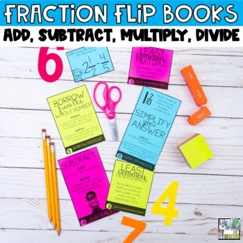 Fractions Mini Flip Book BUNDLE-Add, Subtract, Multiply and Divide Fractions