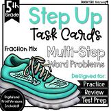 Fractions Mix of Operations Math Multi-Step Word Problems Task Cards 5th Grade