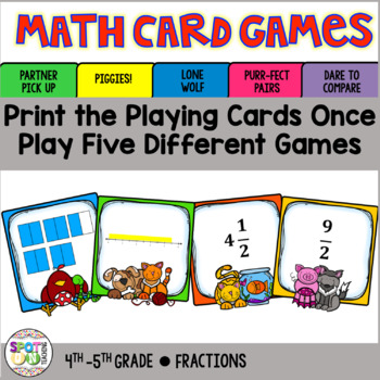 Fractions: Mixed Number and Improper Fractions Math Card Games