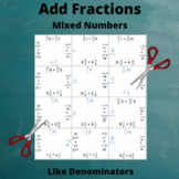 Fractions (Mixed Numbers) Addition Puzzle : Like Denominators