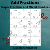 Fractions and Mixed Numbers Addition Puzzle : Like Denominators
