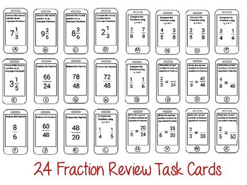 Fractions Mixed Numbers Improper Lowest Terms Review Task Cards Exit Tickets