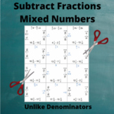 Fractions (Mixed Numbers) Subtraction Puzzle : Un-Like Denominators