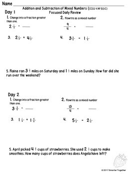 Fractions - Mixed Numbers (+ and -) - Focused Daily Review - 4th Grade