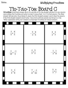 Fractions Mixed Operations Tic-Tac-Toe {Fractions Games} {Pre Algebra Activity}