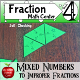Fractions Mixed to Improper Math Center Puzzle Activity