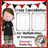 Fractions Multiplication Cross Cancellation Practice Worksheet Cancel Multiply