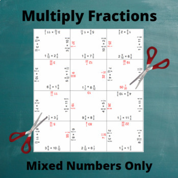 Fractions Multiplication Puzzle : Multiply Mixed Numbers