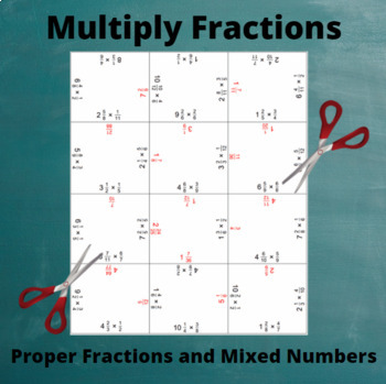 Fractions Multiplication Puzzle : Multiply Mixed Numbers and Fractions