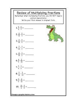 Fractions Multiplication Review Worksheet