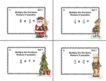 Fractions-Multiplication and Division-Grades 4-6-Task Cards-Christmas