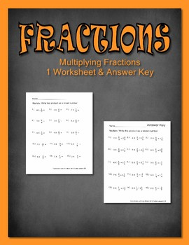 Fractions Multiply Mixed Number Common Core 15 problems w/ answer key