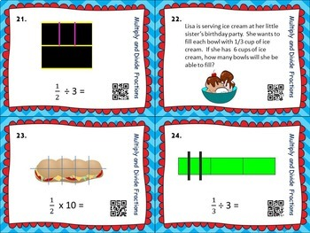Fractions Multiply and Divide Fractions TASK CARDS