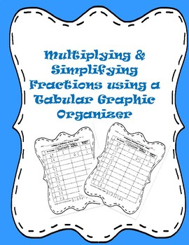 Fractions: Multiplying Fractions using a Tabular Graphic Organizer