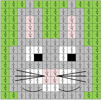 Fractions Mystery Picture Easter Bunny Rabbit Spring