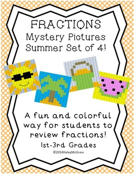 Fractions Mystery Pictures SUMMER Set Pack of 4