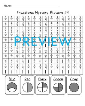 Fractions Mystery Pictures Set of 4 Pack