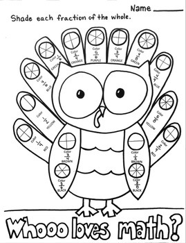 Fractions NF.1 Coloring Printable Math Thanksgiving Turkey Owl Fall Worksheet