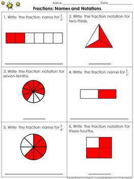 Fractions: Names and Notations Practice Sheets - King Virtue's Classroom
