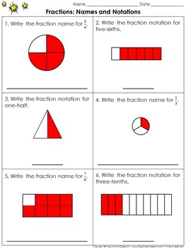 Fractions: Names and Notations Practice Sheets - King Virt