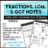 Fractions, LCM, & GCF Notes