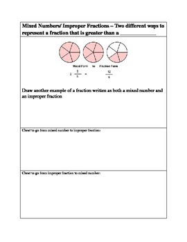 Fractions Notes Fill in the blank