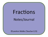 Fractions Notes/Journal