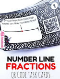 Number Line Fractions Task Cards with QR Codes - 3.NF.A.2