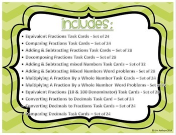 4th Grade Fractions Mega Task Card Bundle - Common Core