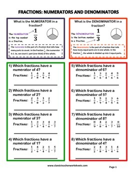 Fractions - Numerators and Denominators - Grades 4-5 (4th-5th Grade)