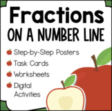 Fractions On A Number Line Worksheets, Task Cards, Posters 3rd Grade Math