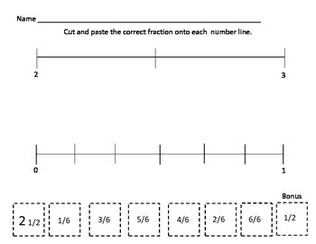 Fractions On A Number Line and Equivalent Fractions Game and Worksheet