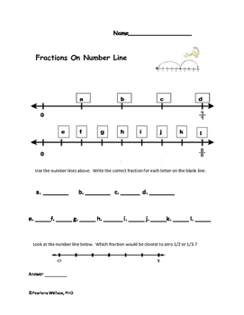Fractions On Number Line 3rd & 4th Grade Common Core Standards